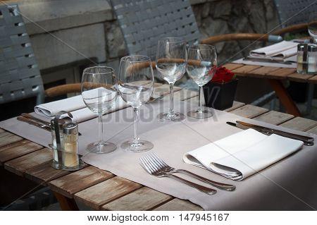 Glasses in a belgian restaurant. In Leuven.