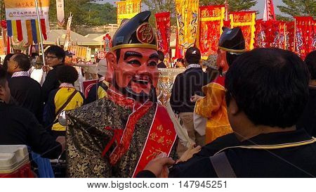 Buddhist festival and colorful parade at a temple in Taiwan.