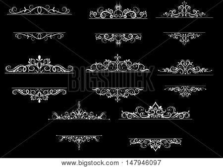 Vintage vector swirl frame set on black