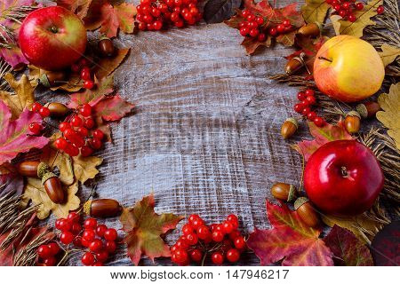 Frame of apples acorns berries and fall leaves on the rustic wooden background. Thanksgiving background with seasonal berries and fruits.