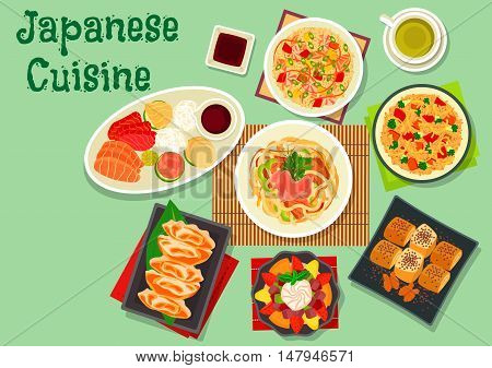 Japanese cuisine dinner dishes icon with sashimi platter, seafood rice, smoked eel egg roll, fry rice, vegetable pork udon noodles, nut rolls, jelly dessert with fruit