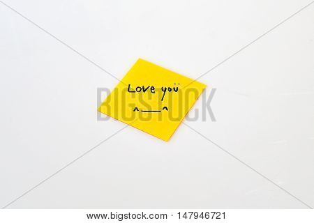 Love note on the yellow post-it paper