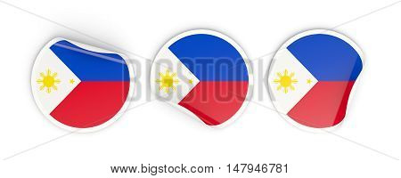 Flag Of Philippines, Round Labels