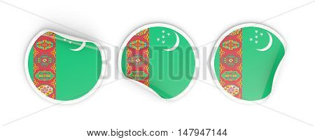 Flag Of Turkmenistan, Round Labels