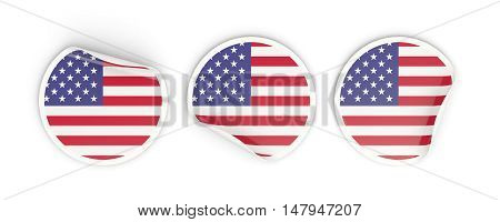 Flag Of United States Of America, Round Labels
