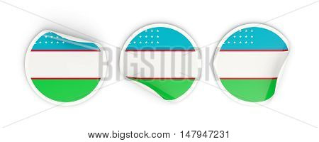 Flag Of Uzbekistan, Round Labels