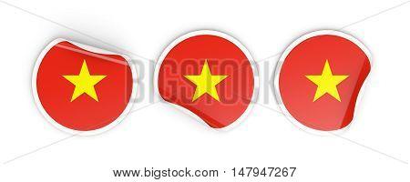Flag Of Vietnam, Round Labels