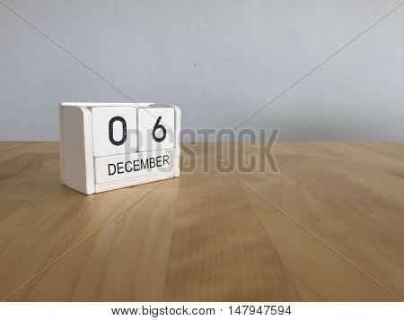 December 6Th.december 6 White Wooden Calendar On Vintage Wood Abstract Background. New Year At Work