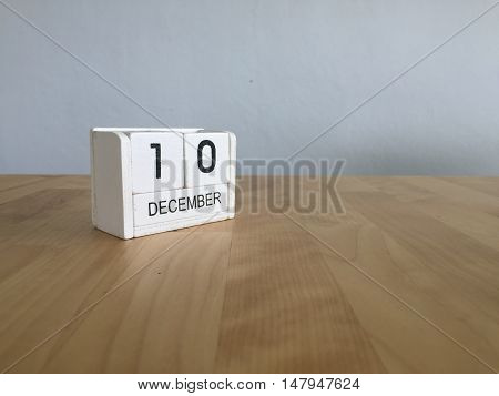 December 10Th.december 10 White Wooden Calendar On Vintage Wood Abstract Background. New Year At Wor