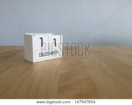 December 11Th.december 11 White Wooden Calendar On Vintage Wood Abstract Background. New Year At Wor