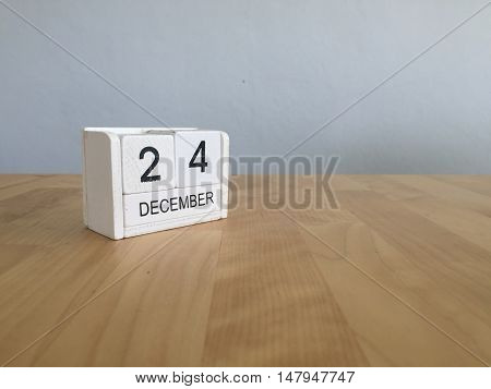 December 24Th.december 24 White Wooden Calendar On Vintage Wood Abstract Background. New Year At Wor