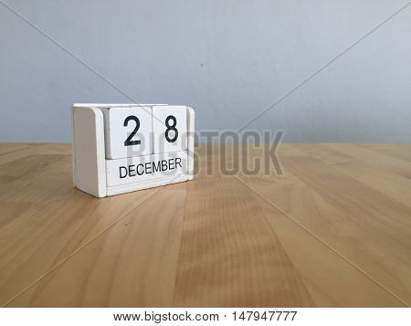 December 28Th.december 28 White Wooden Calendar On Vintage Wood Abstract Background. New Year At Wor