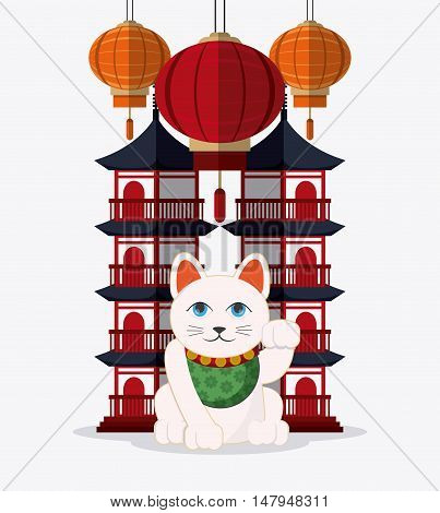 tower building and cat icon. Japan culture landmark and asia theme. Colorful design. Vector illustration