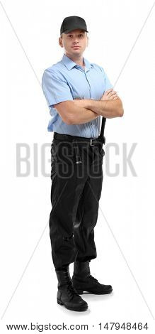 Male security guard isolated on white