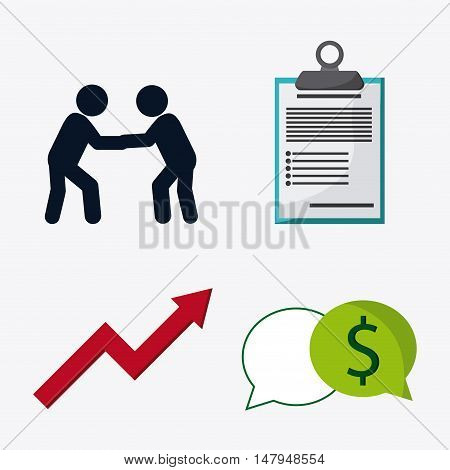 pictogram arrow check list and bubble icon. Business financial item and strategy theme. Colorful design. Vector illustration