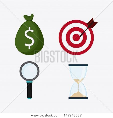 money bag lupe hourglass and target icon. Business financial item and strategy theme. Colorful design. Vector illustration