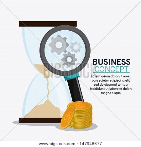 hourglass gears coins and lupe icon. Business financial item and strategy theme. Colorful design. Vector illustration