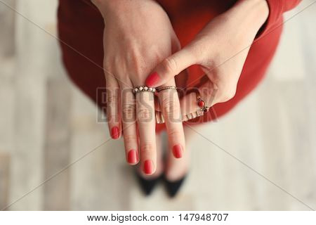 Beautiful rings on female fingers, close up