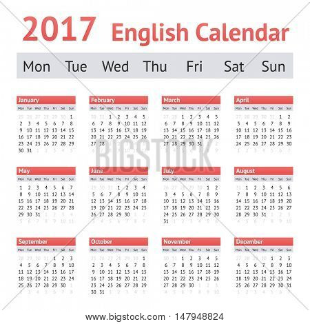 2017 European English Calendar. Week starts on Monday