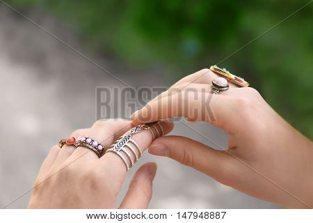 Close up of female hands with beautiful accessories