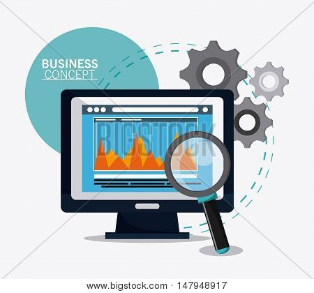 computer infographic gears and lupe icon. Business financial item and strategy theme. Colorful design. Vector illustration