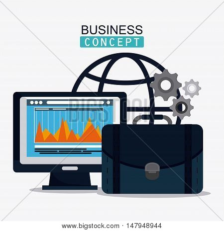 computer infographic gears and suicase icon. Business financial item and strategy theme. Colorful design. Vector illustration