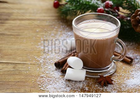 sweet hot cocoa with marshmallows, winter Christmas drink