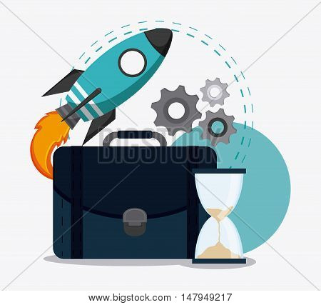 rocket suitcase gears and hourglass icon. Business financial item and strategy theme. Colorful design. Vector illustration