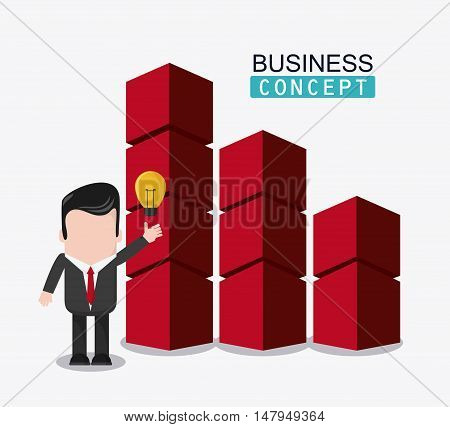 businessman cartoon bars and bulb icon. Business financial item and strategy theme. Colorful design. Vector illustration