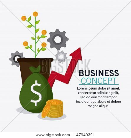 plant coins and money bag icon. Business financial item and strategy theme. Colorful design. Vector illustration