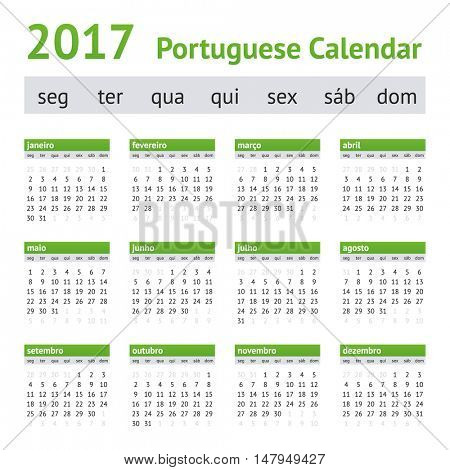 2017 Portuguese European Calendar. Week starts on Monday