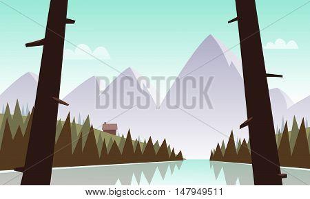 Cartoon illustration of mountain landscape with lake.
