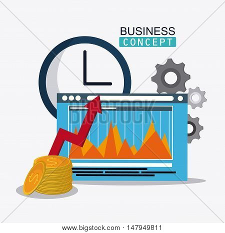 infographic coins clock arrow and gears icon. Business financial item and strategy theme. Colorful design. Vector illustration
