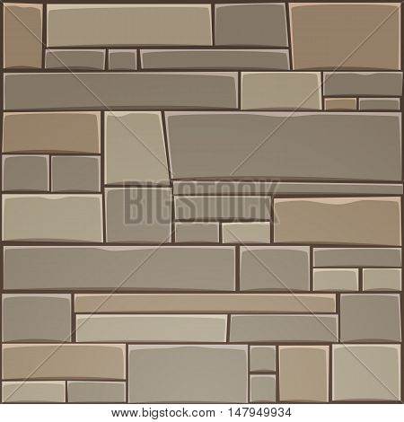 Colorful decorative stone wall pattern. Cartoon vector illustration.
