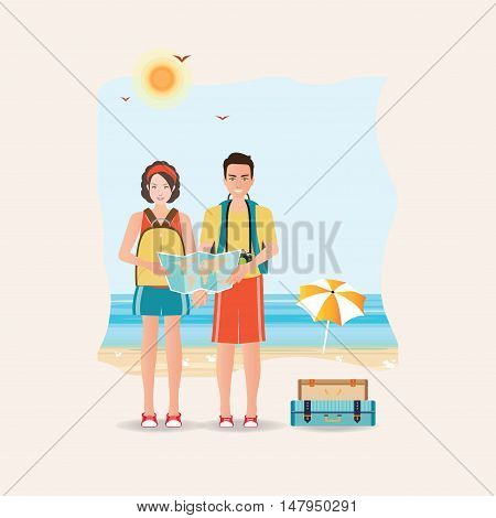 Couple of tourist together on a trip World Travel Planning summer holiday vacations Flat design vector illustration.