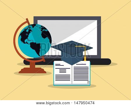 flat design  earth globe with education and academia related icons image vector illustration