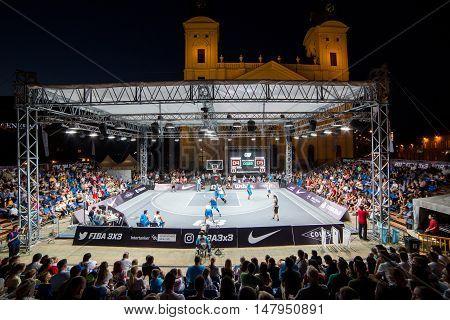 DEBRECEN - SEPTEMBER 7 : FIBA 3X3 BASKETBALL WORLD TOUR MASTERS - STREETBALL IN THE CENTER SQUARE SEPTEMBER 7 2016 DEBRECEN HUNGARIYA