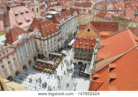 Prague old town square with red roofs