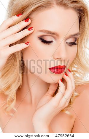 Close Up Photo Of Attractive Woman With Beautiful Make Up