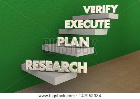 Research Plan Executve Verify Steps 3d Illustration