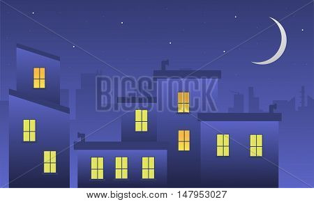 Landscape building at night of silhouette vector illustration