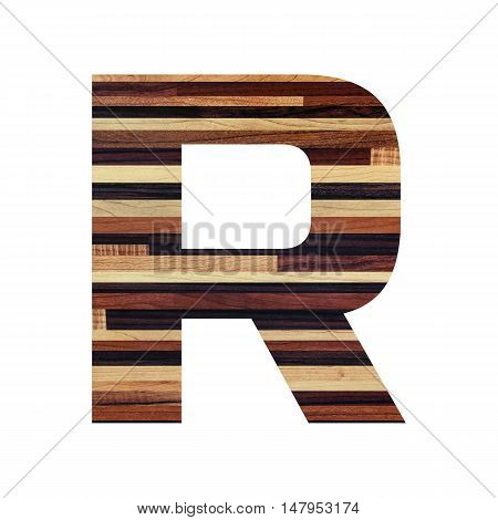 English alphabet with vintage wood texture isolated on white background.