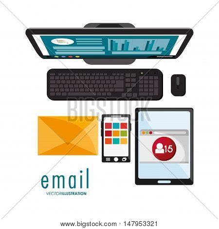 Smartphone tablet computer and envelope icon. Email mail message communication and technology theme. Colorful design. Vector illustration