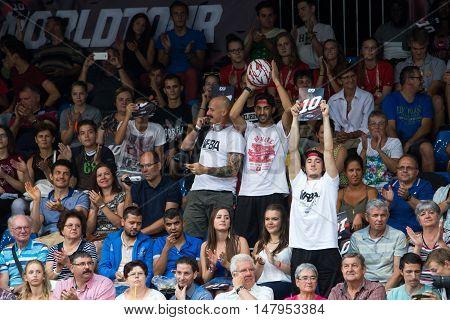 DEBRECEN - SEPTEMBER 8 : FIBA 3X3 BASKETBALL WORLD TOUR MASTERS - CROWD ON STREETBALL IN THE CENTER SQUARE SEPTEMBER 8 2016 DEBRECEN HUNGARIYA