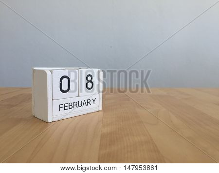 February 8Th.february 8 White Wooden Calendar On Vintage Wood Abstract Background.winter Time. Copys