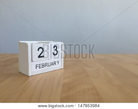 February 23Rd.february 23 White Wooden Calendar On Vintage Wood Abstract Background.winter Time. Cop