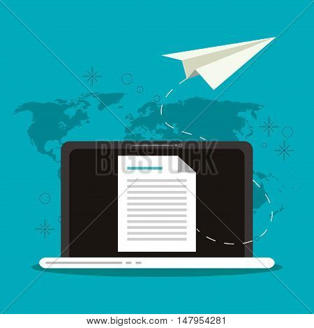 Laptop document and paperplane icon. Email mail message communication and technology theme. Colorful design. Vector illustration