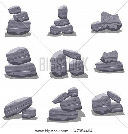 Gray rock style vector art collection stock