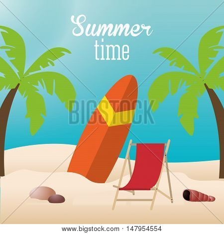 surf baord chair beach and palm tree icon. Summer holiday and vacations theme. Colorful design. Vector illustration
