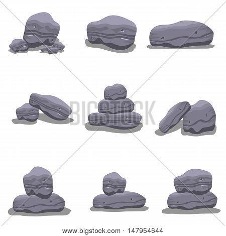 Rock set style of vector art illustration